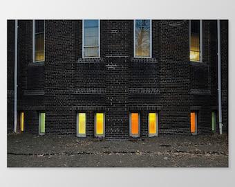 CHURCH WINDOWS – Toronto Architecture, Photo Print, Toronto Photography, Brick Architecture, Church, Windows, Colourful