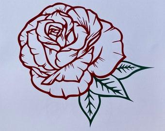 Rose Bud Vinyl Decal Car Window Bumper Sticker Flowers Garden Laptop Home Deco