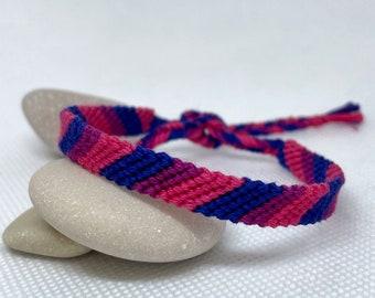 Bisexual Pride Flag Friendship Bracelet, LGBTQIA+ Bracelet, bisexual flag pulsra, striped bisexual flag