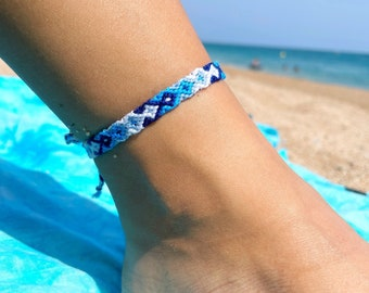 Blue ankle for beach and surf, ankle bracelet, surfer beach standing band, anklet surfer - adjustable