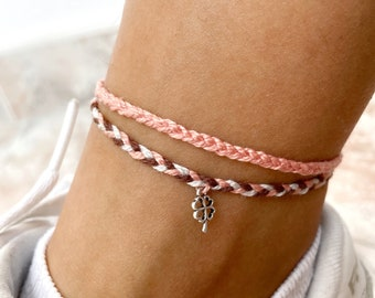 Set of braided anklets, anklets with charm, standing band, surfer beach anklet, ethnic and boho style - adjustable