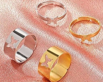 Stainless Steel Matching Butterfly Rings, Silver & Gold Promise Rings Pair, Adjustable Best Friend And Couples Rings, Anniversary Ring set