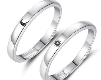 Sterling Silver Rings for Couples, Sun and Moon Matching Rings Set For 2 Pair, Adjustable Best Friend Promise Rings, Engagement Rings Pair