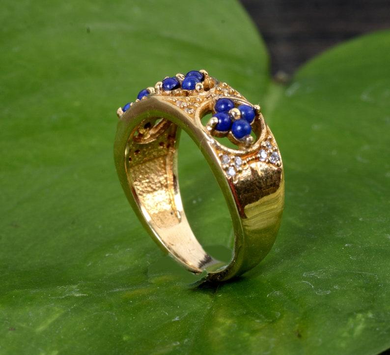 Lapis Gemstone Ring,Brass Gemstone Ring,Mens Ring,Womens Ring,Deco Ring,Wedding Ring,Anniversary Ring,Couples Rings,Gift For Her,Dish Ring