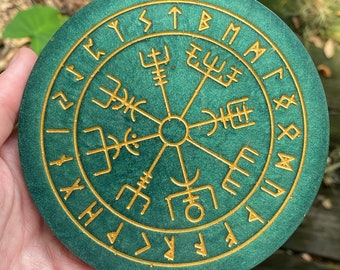 Viking Compass Altar Tile   Vegvisir   Runic Compass   Rune Charging Plate   Rune Coaster   Norse Runes   Divination Board   Charging Plate