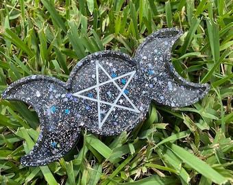 Triple Moon Tray   Witch Trinket Trays   Offering Trays   Witchy Home Decor   Altar Decor   Witchy Decor   Resin Trays   Goddess Decor  