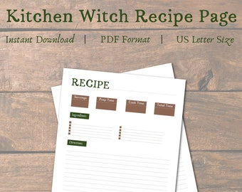Kitchen Witch Recipe Page Printable   Printable Recipe Page   Kitchen Witch Recipe Template   Kitchen Witchery   Printable Recipe Template