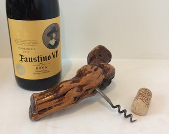Vintage corkscrew cep vine wood table accessory bar retro collection France wood french wine appetizer opener bottle kitchen drink
