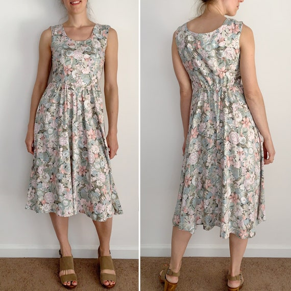 Vintage 70s Pink Paisley Dress Geometric Striped Midi Boho Small S 12133