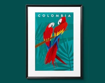 Colombian Parrots Poster Print | Wall Art |18 x 24 inches (46 X 60 cms)| Guacamayas| Travel Art
