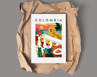 COLOMBIA caribbean Poster Print | tropical holidays | Colombia Travel Poster | Wall Art | 18 x 24 inches (46 X 60 cms)