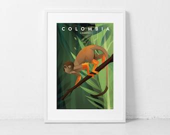 Colombia Amazonas Travel Poster Print | 18 x 24 inches (46 X 60 cms) | Colombian amazonia region  | Travel Art