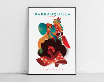 Barranquilla | Carnival | Colombia Travel Poster | 18 x 24 inches (46 X 60 cms) | Travel Art