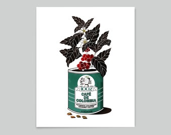 vintage colombian coffee tin poster | Colombia Travel Poster | 18 x 24 inches (46 X 60 cms) | Travel Art