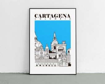 Old Town Cartagena, Colombia | colonial architecture| Colombia Travel Poster | Wall Art | 18 x 24 inches (46 X 60 cms)