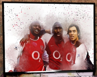 Arsenal Iconic Collection Robert Pires Patrick Vieira Sol Campbell Arsenal FC Art Print Box Framed Picture Wall Hanging