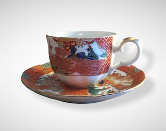 Arita Imari Fine China Japan RED PEACOCK Tea Cup and Saucer.