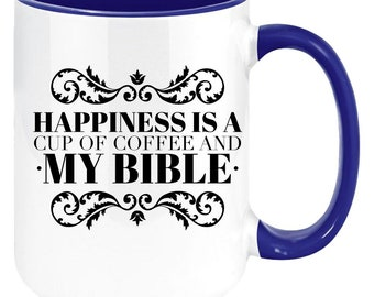 Happiness Is A Cup Of Coffee And My Bible Present Aluminum Novelty Vanity Metal License Plate 6  x 12
