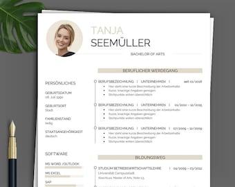PREMIUM application template   CV template german gold