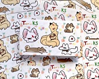 Shrine Fox Vinyl Sticker Sheet- 4in x 6in - Kitsune