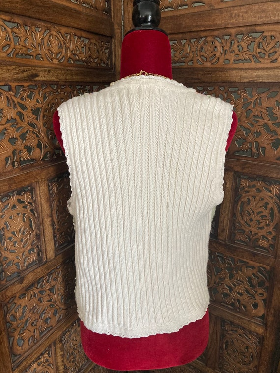 Vintage 90's CROCHET Sweater VEST GRANNY Chic Emb… - image 6
