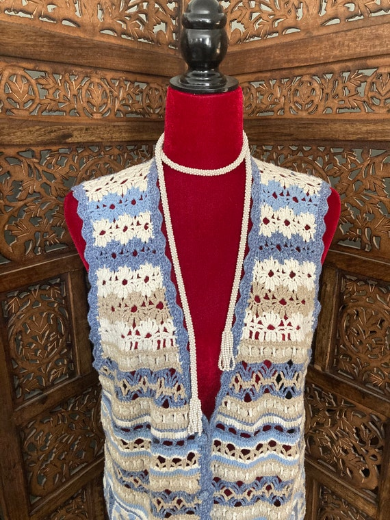 Vintage Women's CROCHET SWEATER VEST with buttons… - image 7
