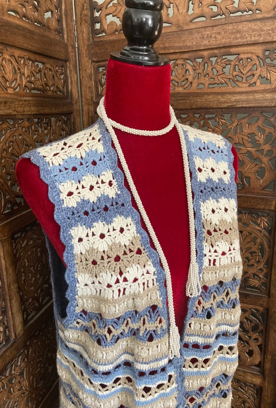 Vintage Women's CROCHET SWEATER VEST with buttons… - image 3