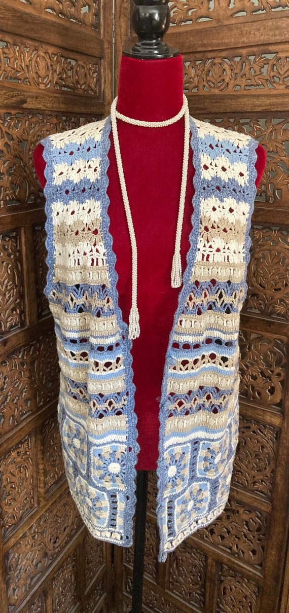 Vintage Women's CROCHET SWEATER VEST with buttons… - image 1