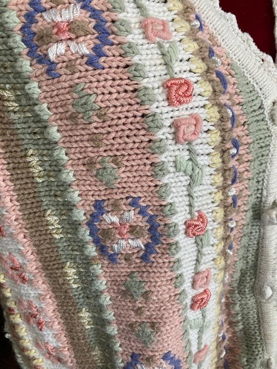 Vintage 90's CROCHET Sweater VEST GRANNY Chic Emb… - image 3
