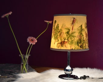 JANGAL / Vintage 60s Vintage Table Lamp/Table Lamp with Chrome Foot, Jungle Collage, Handmade, Unique, Monkey, Palm trees, Original