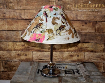 Table lamp Pink JANGAL Day Dream Monkey & Friends with chrome base, unique, monkeys, hummingbirds, gold, handmade, unique, 60s,