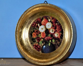 Small round gilded wooden frame, Victorian paper, still life with dahlias, Pierre-Auguste Renoir, Impressionism, Rare,