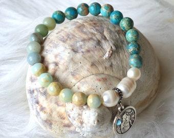 Mother of God Gemstone Bracelet with Amazonite, Imperial Jasper, Freshwater Pearls, Protective Bracelet, Gift for Christmas, Virgin Mary, bright,