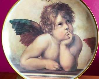 Vintage wall plate, quality porcelain of the brand KAISER, collection plate the thoughtful, 1970 - 1990, Raphael's Angel, Christmas, gift