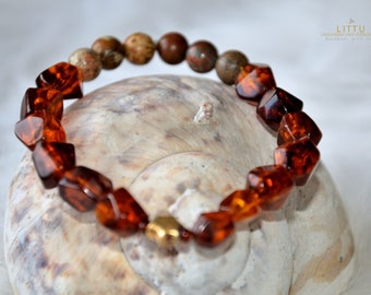 Genuine Baltic Amber Bracelet, Jasper, 925ér Gold Plated Star, Unique Piece, Gift for You, Christmas, Amber Pearls, Recycled