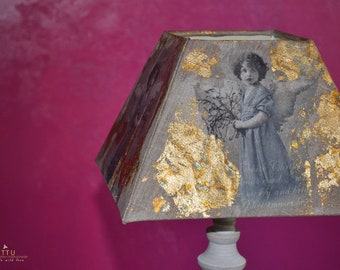 Large shabby style, table lamp, lampshade with wooden base, angel, white, beige, handmade, upyclt, unique, Christmas, gift, interior