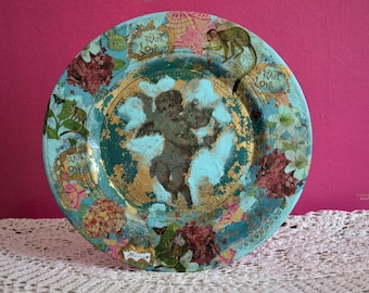 Large wall plate, wood, bright colors, painted by hand, decorative, boho angel, thank you gift, merci, gold leaf, Christmas gift