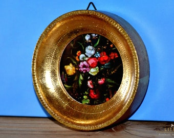 Small round gilded wooden frame, Victorian paper, still life with summer flowers, Impressionism, Rare,