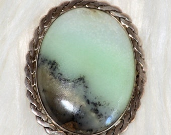Large oval Art Nouveau Art Deco brooch silver with Andean opal, picked, Christmas, gift, antique, braid pattern, vintage, gemstone,