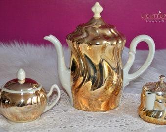 3-piece, Vintage Art Dèco, coffee pot, table set, HKE, Fürstenberg, 1930, gold, porcelain, silver edition, Art Nouveau, gift, antique,