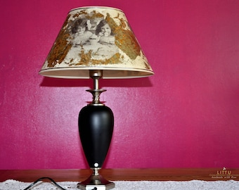 TeaTime/Vintage 90s,Table lamp with black porcelain Korbus,Goebel,Unique, Upcyclt, Art Lamp Work, Gift, bes/w,Gold,noble, Christmas