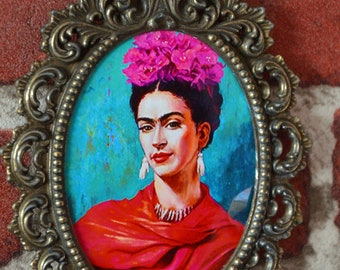 Vintage small decorated brass photo frame, oval, open without glass, shabby chic style, boudoir style, frida kahlo, gift, rococo style