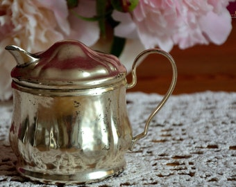 Art Deco, cream caster/ milk jug, silver-plated, hotel silver, gift, country style, shabby chic, decoration, patina, antique