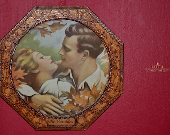 Octagonal carved picture frame, Art Deco around 1920, Lovers in paradise, Rare, Rarity, Special furnishing gift, Bauhaus,