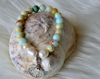 Mother of God gemstone bracelet with amazonite, freshwater pearls, protective bracelet, gift for Christmas, Virgin Mary, bright, unique piece