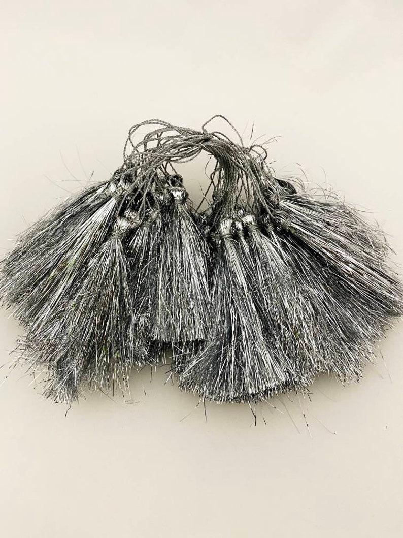 Set of 10 Tassels Silver Lurex Tassel Light weight Decorative Material Embelishments Latkan For Designing Sew on