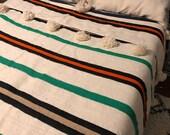 Wool Moroccan Pompom Blanket,pom pom Blanket,Throws Blanket,bedroom blanket,Boho Blanket,Bed Cover,Wool blanket, bed spread, woven blanket