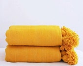 Moroccan wool blanket ,throw blanket,moroccan blankets,woven blanket ,throw blankets,pompom blanket,wool blanket,handmade blanket Yellow