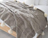 Hot Selling Wool Moroccan Pompom Blanket,pom pom Blanket,Throws Blanket,bedroom blanket,bedding,Wool blanket, bed spread, woven blanket