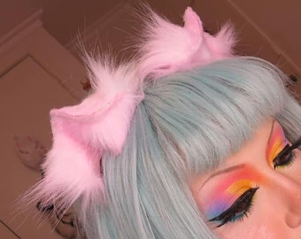 Pastel Mini Kitten Ears with a White Base one solid Airbrush Color